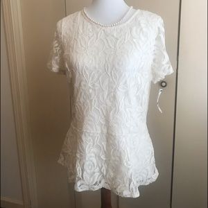 Charter Club NWT Cream/Ivory Lace Top SZ Large